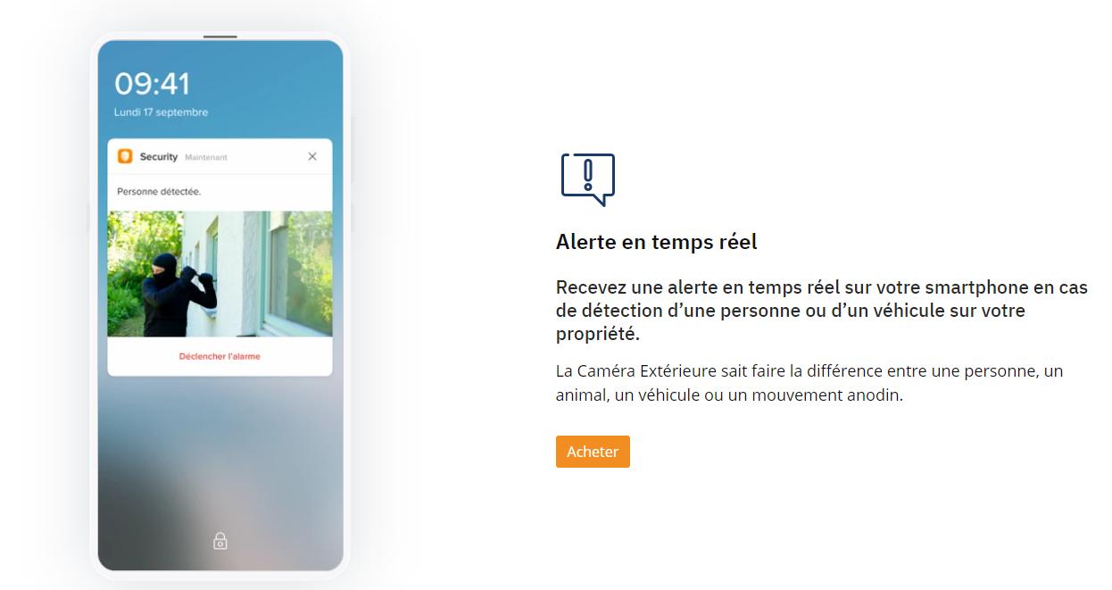 Caméra intelligente exterieur description smartphone